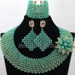2017 <b>Handmade</b> Teal Green Beads African Costume <b>Jewelry</b> Sets Nigerian Wedding Bridal Lady Lace <b>Jewelry</b> Sets Free Shipping ABK755