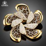 AZORA Rhinestone Shiny Flower Brooches Leopard Pattern <b>Jewelry</b> Pin for Women Lady Decoration <b>Accessories</b> Novelty Gift TP0066