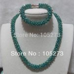 New Arriver Crystal Jewelry Set 4mm Dark Green Color Crystal Beads Necklace <b>Bracelet</b> Handmade Festival jewelry New Free Shipping