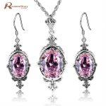 Fashion 925 <b>Sterling</b> <b>Silver</b> <b>Jewelry</b> Sets For Women Pink CZ Stone Crystal Royal Wedding Pendant/Earrings Victorian Vintage Style