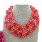 19″ 9 Strands Orange Coral Statement <b>Necklace</b>