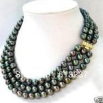 Fashion 3 row 7-8mm charms black akoya pearl beads <b>making</b> beautiful Necklace MY4328