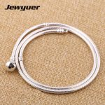 <b>Silver</b> <b>Bracelets</b> snake chain for women 925 sterling <b>silver</b> jewelry Fit Charms Beads Diy bangles and necklace Memnon YL108