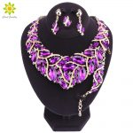 Fashion Purple Crystal <b>Wedding</b> <b>Jewelry</b> Sets For Bride Party Necklace Earrings Bracelet Ring Jewellery for Women