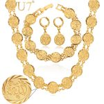 U7 Allah Choker Necklace Bracelet And Earrings Set Gold Color Religious Antique Coin Islamic <b>Wedding</b> <b>Jewelry</b> Set For Women S465