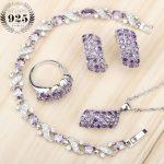 Purple Zircon Silver 925 Bridal <b>Jewelry</b> Sets Women Earrings With Stones Pendant/Ring/Bracelets Set For Weeding Free Jewelery Box
