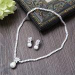 Charming Cubic Zirconia <b>Jewelry</b> Sets Wedding Bride <b>Necklace</b> Clear Zircon Stone Pendant Simulated Pearl Women Dangle Earrings New