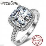 Vecalon S925 Logo 100% Solid 925 <b>Sterling</b> <b>Silver</b> Rings For Women 3CT SONA 5A Zircon cz Engagement Wedding Ring Fine <b>Jewelry</b>