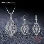 ANFASNI Fashion Real 925 <b>Sterling</b> <b>Silver</b> Sparkling Lace Stunning <b>Silver</b> & Clear CZ <b>Jewelry</b> Sets Wedding Engagement <b>Jewelry</b>