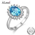 Almei 1ct Blue Gemstone Rings for Women Topa 925 Sterling <b>Silver</b> Fine <b>Jewelry</b> Natural Stones Ring <b>Jewelry</b> with Box 40%FJ089