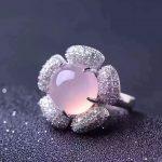 Genuine Natural pink chalcedony stone ring 925 <b>sterling</b> <b>silver</b> Woman Madam gem <b>Jewelry</b> Lady Flower rings