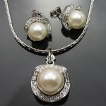 Women's Wedding White Shell Pearl Crystal Earring Pendant Necklace Set A035 real silver –<b>jewelry</b>