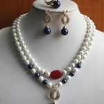 Women's Wedding shipping> Design 8mm 2 Rows Mixed stone/Pearl/Crystal Necklace Earring Ring <b>Jewelry</b> Set