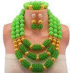 Nigeria bridal Wedding african beads <b>jewelry</b> set 2017 statement cool necklace sets for women green beads <b>making</b> choker