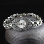 Limited Classic Elegant S925 <b>Silver</b> Pure Thai <b>Silver</b> Flower <b>Bracelet</b> Watches Thailand Process Rhinestone Bangle Dresswatch