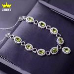 Natural Green Peridot Pendant <b>Necklace</b> Genuine 925 Sterling <b>Silver</b> Semi Precious Stone Birthstone
