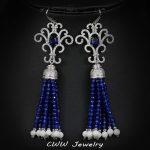 CWWZircons Natrual Blue Created Gemstone Big Long Dangle Earrings For Women CZ Stones <b>Wedding</b> Party <b>Jewelry</b> CZ290