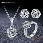 ANFASNI Top Quality Pure 925 <b>Sterling</b> <b>Silver</b> Sparkling Love Knot Weave With AAA CZ <b>Jewelry</b> Sets For Women Luxury <b>Jewelry</b> Gift