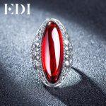 EDI Natural Chalcedony Retro Gemstone Garnet Sapphire Ring For Women 925 Sterling-<b>Silver</b>–<b>Jewelry</b> Exaggerate Indian <b>Jewelry</b>
