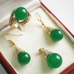 Women's Wedding generious and decent 12mm green pendant, earring and ring(7-9#) sets for party a real silver mujer