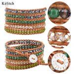 KELITCH <b>Jewelry</b> 1Pcs Leather Multilayers Cuff Bracelets Green Stone Crystal Beads <b>Handmade</b> Classic Charm Bracelets Wholesale