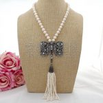 N100204 19″ White Pearl Tassel Necklace CZ Pendant