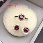 925 <b>silver</b> inlaid 100% natural garnet jewelry suit Ms. Ring <b>earrings</b> fashion gift