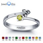 Personalized Engrave Name Birthstone <b>Jewelry</b> Friendship 925 Sterling Silver Rings For Women Free Gift Box (JewelOra RI101961)