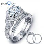 Romantic 925 Sterling Silver Engagement Ring Set Luxurious Women Silver Bridal Ring Sets <b>Wedding</b> <b>Jewelry</b> (JewelOra RI102024)