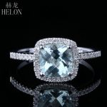 HELON 925 <b>Sterling</b> <b>Silver</b> 7x7mm Cushion 1.3ct 100% Genuine Aquamarine Natural Diamonds Ring Exquisite Gemstone <b>Jewelry</b> Fine Ring