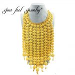 JUST FEEL Africa <b>Jewelry</b> Big Necklace Gold Color Long Tassel Large Necklace <b>Wedding</b>/Birthday Gift Ethiopian/Nigeria/Arab Style