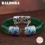 BALMORA 925 <b>Sterling</b> <b>Silver</b> Butterfly & Flower Bangles for Women Gift Vintage <b>Silver</b> <b>Jewelry</b> About 18cm Bracelet Pulsera MN50091