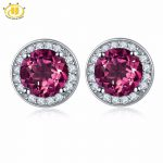 Hutang Round <b>Earrings</b> Made With 2.16ct Natural Gemstone Rhodolite Garnet Solid 925 Sterling <b>Silver</b> Fine Jewelry For Women's Gift