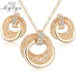 Mytys Hot sale <b>Fashion</b> Cubic Zirconia Pendant Chain Necklace and Earrings wire mesh <b>Jewelry</b> Sets Gift N960