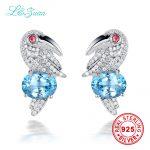 l&zuan Brand Luxury 925 Sterling <b>Silver</b> Natural 4.69ct Topaz Blue Stone Stud <b>Earring</b> for bijoux gift Black Friday