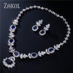 ZAKOL Luxury Sliver Color Dark Blue AAA Cubic Zirconia <b>Jewelry</b> Sets for Elegant Bridal Wedding Flower <b>Jewelry</b> FSSP112