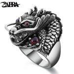 ZABRA 100% Solid 925 Sterling Silver Dragon Red Zircon Eye Domineering Men Ring Vintage Punk Retro Big Gothic Ring Men <b>Jewelry</b>