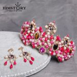 New Luxurious Europe Women Tiara <b>Handmade</b> Pearl Pink Crown Queen Hairwear Bride Hair <b>Jewelry</b> Wedding Party Accessories Gifts