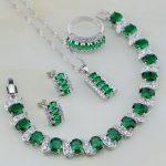 Trendy Green Created Emerald White CZ 925 Sterling <b>Silver</b> Jewelry Sets Women Wedding Stud Earring/Pendant/Necklace/<b>Bracelet</b>/Ring