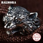 BALMORA 100% Real 925 Sterling Silver Wolf Head Rings for Men Gift Vintage Thai Silver Punk Animal Ring <b>Jewelry</b> Anillos SY22135