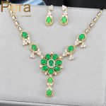 Pera High Quality Gold Color African Women Anniversary Party Costume <b>Jewelry</b> Set With Natural Green Cubic Zirconia Stone J144