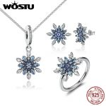 WOSTU Authentic 100% 925 Sterling <b>Silver</b> Blue & Clear Cubic Zirconia Snowflake Jewelry Sets For Woman Wedding Jewelry Accessor