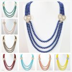 Multicolor popular 6mm round shell simulated-pearl beads 3rows crystal purfle heart accessories <b>making</b> necklace 28-32″B1187