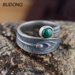 BUDONG Real 925 Sterling <b>Silver</b> Rings for Women Natural Green Ball Malachite Stone Feather Rings Open Adjustale Fine <b>Jewelry</b>
