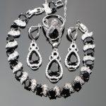 Zircon <b>Silver</b> 925 Costume Wedding Jewelry Sets Women Charms <b>Bracelets</b> Pendants Necklaces Rings Earrings With Stones Set Gift Box