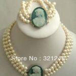 Hot Sale Elegant 3rows 7-8mm Natural White Freshwater Cultured Pearl Cameo Necklaces Bracelets Round Beads <b>Jewelry</b> <b>Making</b> MY2090
