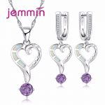Jemmin Top Quality Fine 925 Sterling <b>Silver</b> Jewelry Sets For Wedding Engagement Accessory White Fire Opal Necklace <b>Earrings</b> Set