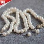 Trendy Strand Ornaments Necklace 7-8mm Natural White Freshwater Pearl earing Set beads <b>Jewelry</b> <b>making</b> design 18inch wholesale