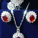 real Women's Wedding > >Charming! Red Rhinestone necklace Earring ring Sets