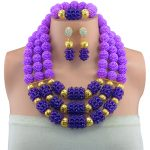 Nigeria bridal Wedding african beads <b>jewelry</b> set 2017 statement purple cool necklace sets for women beads <b>making</b> choker